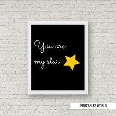 My star Printable Poster Instant Download Black par PrintablesWorld
