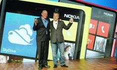Technology Blog    Steve Ballmer of Microsoft (left) and Stephen Elop of Nokia with Nokia's new smartphones
