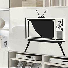 "vinilo decorativo ""Televisor vintage"". Color negro. Medidas: 65x75cm - http://vivahogar.net/oferta/vinilo-decorativo-televisor-vintage-color-negro-medidas-65x75cm/ -"