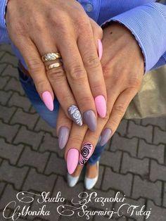by Monika Szurmiej Tutaj Indigo Young Team :) Find more inspiration at… Aycrlic Nails, Pink Nails, Hair And Nails, Fancy Nails, Love Nails, Gorgeous Nails, Pretty Nails, Heavenly Nails, Indigo Nails