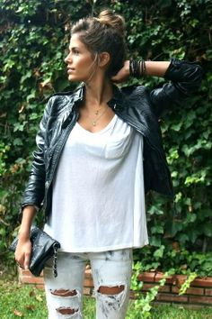 Black leather jacket, white tee and distressed jeans. Too cute.