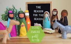PDF PATTERN Wool Felt Nativity 11 piece set Christmas