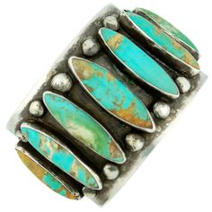 Cuff Bracelet | Artist ? (Navajo). Natural southwestern turquoise and silver.    C1920s.