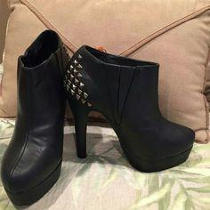 "Madden Girl Booties Cute black booties w/ stud detailing on back 5"" heel w/ 1"" platform Side stretch panel also! Cute cute cute Madden Girl Shoes Ankle Boots & Booties"