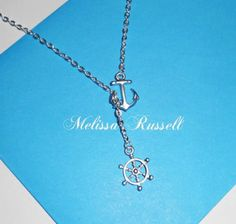 Nautical Lariat Necklace with Anchor and Steering Wheel    Convo me if you need more    *Anchor - Matte Silver(Original Rhodium) Plated over