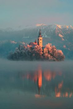 Frosty, Lake Bled, Slovenia photo via funnerl
