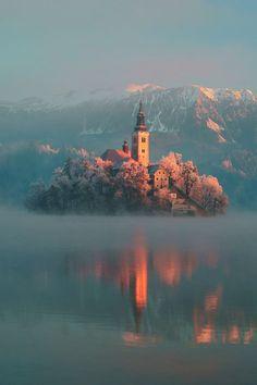 Frosty, Lake Bled, Slovenia photo via funnerl