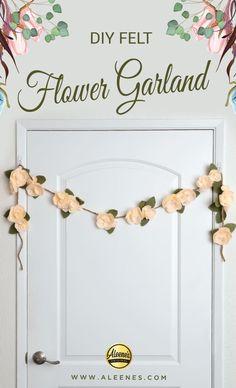 Paper Flower Garlands, Rose Garland, Felt Garland, Floral Garland, Diy Garland, Felt Flowers, Diy Flowers, Fabric Flowers, Paper Flowers