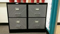 Filing cabinet in music room using Washi tape.