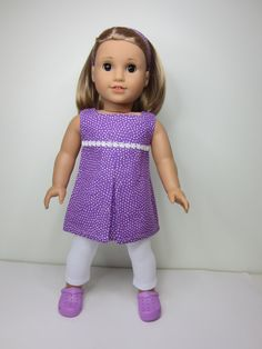 American Girl doll clothes purple pleated tunic by JazzyDollDuds