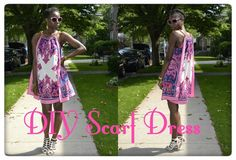 DIY Scarf Dress Tutorial by Daniela Tabois! Did you just see that? Two scarfs became a sexy ass dress. A dress made from scarves!