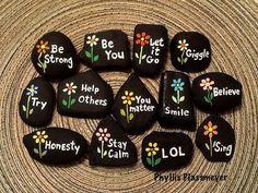 Words - Painted rocks by Phyllis Plassmeyer - 2017
