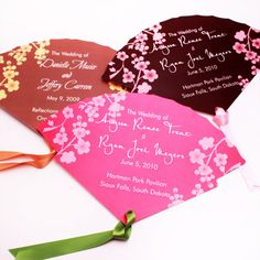 Scalloped Cherry Blossom Program Fans - 25 pcs - Palm and Bamboo Hand Fans - Wedding Favors - Wedding Favors & Party Supplies - Favors and Flowers