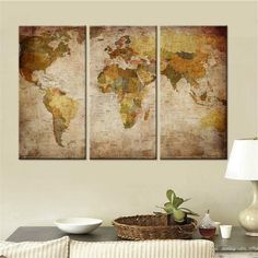 3 piece framelessframed world map canvas wall paintings pinterest 3 piece framelessframed world map canvas wall paintings pinterest inspirational backgrounds living room art and wall paintings gumiabroncs Image collections