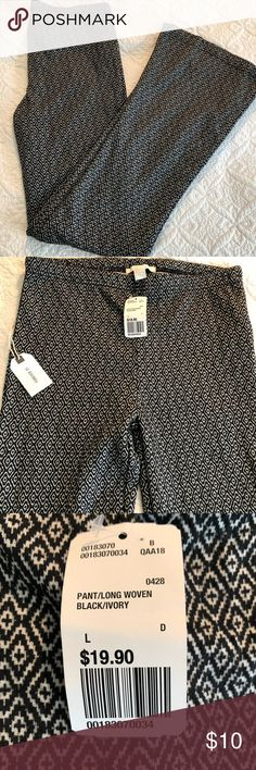 Black/white geo print pants Never worn, NWT. They were comfy, just too long on me and not my size. Fits true to size. The black and white geo pattern looks super cute, you almost can't tell the pattern when far away. They are flair cut. Great pair of pants for spring and summer! Pants