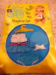 Vintage 1976 Little Sweet April Doll Playtime Set - Clothes Outfit 13.5+3