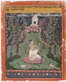 """Asavari Ragini """"longing for her husband, climbs the Malaya mountains. All the snakes desert their sandal trees, and writhe and coil their bodies.""""Malwa. 17th C."""