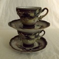 2 Vintage Hand Painted Betson Japan Dragonware Moriage Cup & Saucer Sets