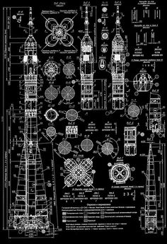 Blueprint for the three-stage Soyuz rocket, the most frequently used launch vehicle with 1,700+ manned and unmanned launches.