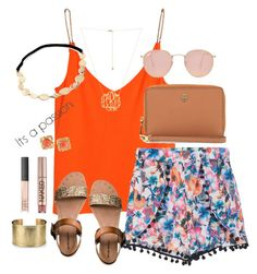 """Be happy."" by kaley-ii ❤ liked on Polyvore featuring H&M, Mossimo Supply Co., Tory Burch, Blue Nile, Urban Decay, NARS Cosmetics and Ray-Ban"