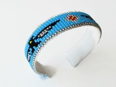 Blue Bead Loom Bracelets, Unique Bracelets, Handmade Bracelets, Cuff Bracelets, Native American Beadwork, Loom Beading, Blue And Silver, Detail, Gifts