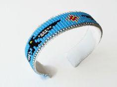 Blue Bead Loom Bracelets, Unique Bracelets, Handmade Bracelets, Cuff Bracelets, Native American Beadwork, Loom Beading, Blue And Silver, Detail, Gifts