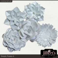Simply Posies 6 By #JilbertsBitsOfBytes.  This is a mixed assortment of my various paper flowers all done in white. These 5 handmade posies have been saved in PNG format at 300 dpi. These elements are ok for commercial use as well as personal use and they are also S4H and S40 friendly.#digitalscrapbooking #theStudio