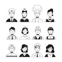 Profession Avatar Collection with Hand Drawn Style, Anyone can use this easily. People Illustration, Character Illustration, Simple Character, Character Design, Persona Vector, Face Doodles, Free Avatars, Face Icon, Flat Design Icons