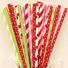 STRAWBERRY SHORTCAKE PARTY Straws, 30 Happy Paper Straws MIx, with Diy Flag, Lemonade Stand, Ice Cream Social, Strawberry Patch Party