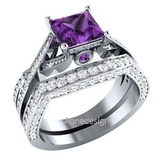 1.75 ct 10K White Gold Over Diamond & Real Amethyst Women's Bridal Ring Set #aonedesigns #WeddingAnniversaryEngagementPartyGift