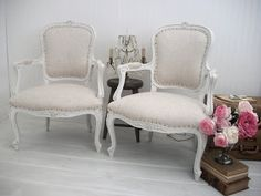 We just finished this beautiful Romantic Roses carved settee. Upholstered in an oatmeal 13 oz. Belgian Linen, finished with antique style na...