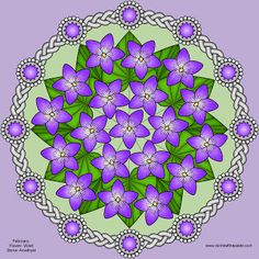 Violets and Amethyst Mandala.birthstone and flower mandalas. Flower Mandala, Mandala Art, Coloring Pages For Kids, Coloring Books, Parchment Craft, Pattern Art, Art Patterns, Stained Glass Patterns, Mandala Design
