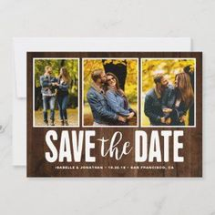 Wedding Save the Date Rustic Wood 3 Photo Collage