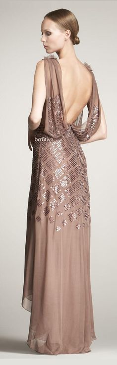 J. Mendel Silk Sequined Chiffon Gown on Neiman's.  Shorter in front.  Fabulous Victorian boots?  With buttons?!?
