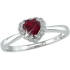 10k White Gold Created Ruby and Diamond Heart Ring | Overstock.com ($20) ❤ liked on Polyvore featuring jewelry, rings, accessories, joias, white gold heart shaped rings, heart shaped diamond ring, white gold jewellery, white gold diamond jewelry and ruby diamond ring