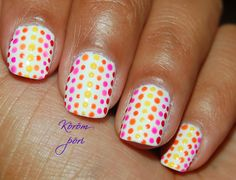 Solid white nails with red, pink, orange and yellow polka dots. Easy free-hand nail art     Link to 47 Retro Nails Designs