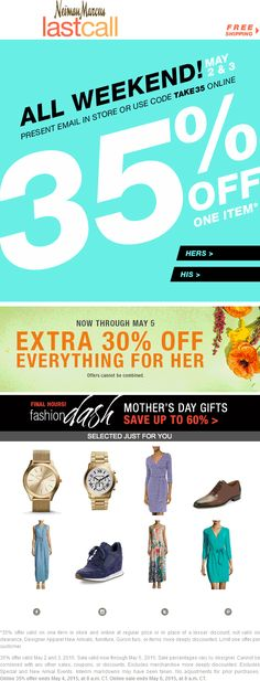 Pinned May 3rd: 35% off today at Neiman #Marcus Last Call or online via promo code TAKE35 #coupon via The #Coupons App