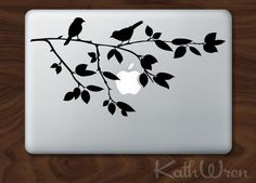 Bird on Branch  Vinyl Macbook laptop decal by kathwren on Etsy, $12.00
