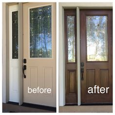 My fiberglass front door had wood grain so I decided to use Zar Wood Stain. This is not a gel stain and so much easier than other blogs. Two coats of Walnut.