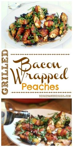 Bacon-Wrapped Grilled Peaches stuffed with goat cheese and scallions, and drizzled with a good balsamic. #SummerSoiree #bacon #peaches #grilling #appetizers