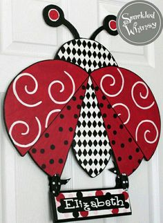 Personalized Ladybug Door Hanger Wall Decor by SparkledWhimsy Burlap Projects, Burlap Crafts, Wooden Crafts, Ladybug Crafts, Ladybug Party, Ladybug Nursery, Crafts To Make, Diy Crafts, Burlap Door Hangers