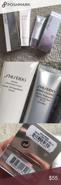Shiseido cleansing creme, white Lucent day cream Never opened new in box. Sealed. Full size. Ibuki gentle cleansing creme. $32. White Lucent all day brightener moisturizer spf 22. $55. Purchased in Oct and Nov 2016 at Bloomingdales. No trade. Shiseido Makeup