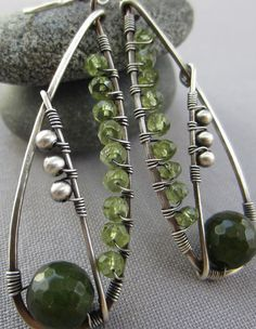 Canadian Jade and Peridot Wire Wrapped in Sterling Silver /Silver Wire Earrings/ Peridot Earrings/  Artisan Earrings