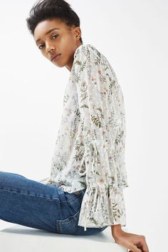 Dobby Spot Floral Blouse - New In- Topshop Europe