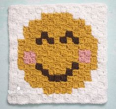 Smiley Face Emoji C2C square and pixel graph - Repeat Crafter Me