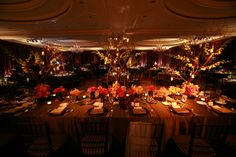 Enhanced Lighting installed Egg Plant Taffeta drapery around the dining area of this Ritz SF Reception. Table washes and pinspotting were used to bring the florals to life. Event Lighting, Reception Table, Drapery, Dining Area, Florals, San Francisco, Egg, Plant, Table Decorations