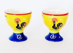 "Pair of Vintage Style Glazed Ceramic Barcelos Rooster EGG CUPS Hand Painted and Decorated 5,5 x 5 cm  /  2.2 x 2"""" Souvenir from Portugal by PORTUGALWIDE on Etsy"