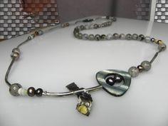 Vesna Kolobaric by VESNAjewelryART -  long multistone necklace with sterling silver tube and brass