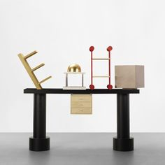 ETTORE SOTTSASS    Acropoli    Design Gallery Milano  Italy, 1988  lacquered wood, ash, marble, gilt wood  78.75 w x 21.75 d x 73 h inches