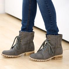 Lace-Up Canvas Boots